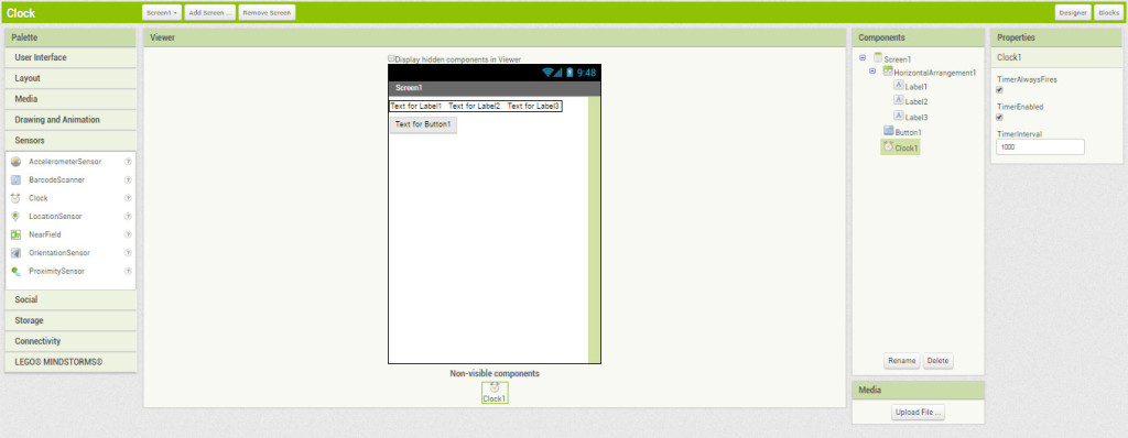 Компоненты приложения Clock на экране App Inventor
